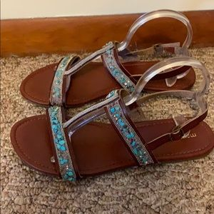 Women's brown and turquoise sandals